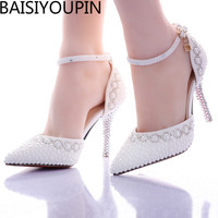 2016 New Summer White Pearl Diamond Wedding Shoes High Heels Bride Dress Shoes Show Party Sandals