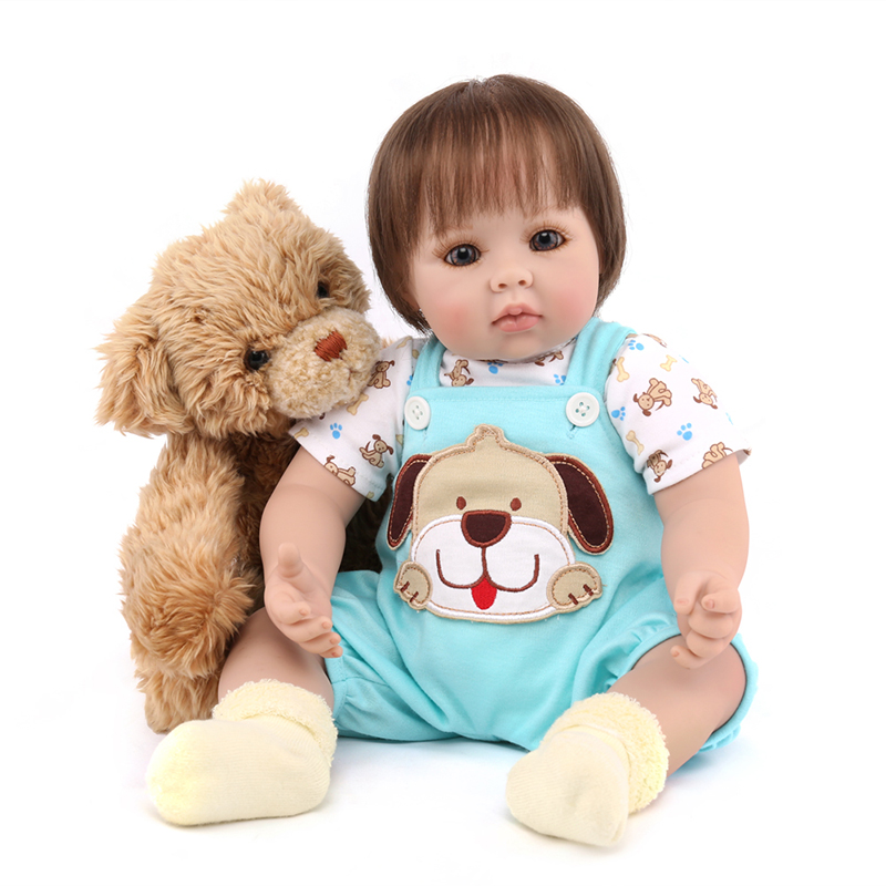NPKDOLL 20 Soft silicone Reborn Babies Dolls with plush animal dog doll 50 cm Vinyl Toys for Childrens Birthday Gift for GirlNPKDOLL 20 Soft silicone Reborn Babies Dolls with plush animal dog doll 50 cm Vinyl Toys for Childrens Birthday Gift for Girl