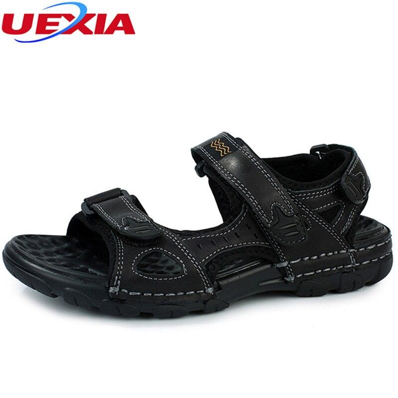 UEXIA New Fashion Summer Beach Breathable Men Sandals Leather Mens Sandal Causal Shoes Sapato Feminino Sandalias Comfortable