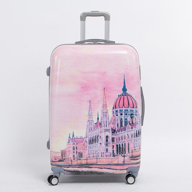 Female 24 inch pink pc hardside trolly luggage bag on universal wheels,8 wheels palace travel case,fairy tale Palace duffle bag