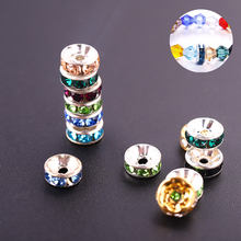 50pcs/lot 8mm Rondelle colorful Gold Rose Crystal Beads Loose Spacer charm Rhinestone for DIY Jewelry Making Accessories