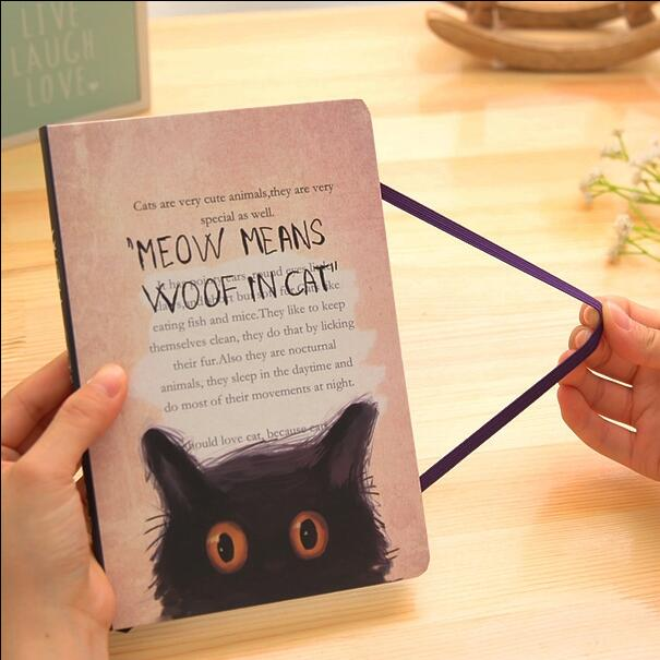 Black Cats Journal Diary Lined Paper Cute Planner Pocket School Study Notebook Agenda Notepad