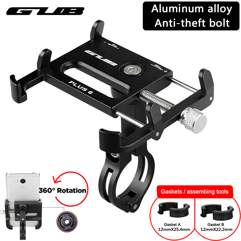 """Aluminum Bicycle Phone Holder MTB Mountain Road Bike Motorcycle Universal Handlebar Clip Stand for 3.5"""" to 7.5"""" Smartphones GPS"""