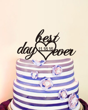 Best Day Custom Date Cake Toppers For Weddings Party Decoration Love Acrylic Modern Toppers Mariage Bride Party Anniversaire