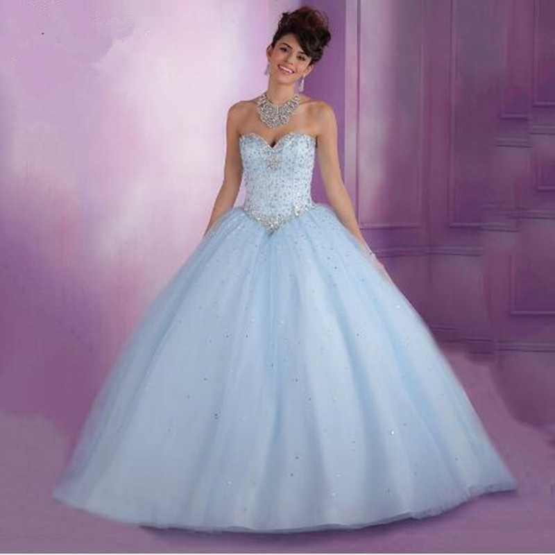 Cheap Masquerade Dresses Ball Gown Sweet 16 Dresses Sparkly Tulle Puffy  Baby Light Blue Quinceanera Dresses with 2017 Crystals 04fa58c42