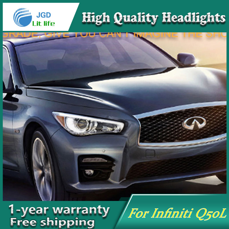 Car Styling Head Lamp for Infiniti Q50L Headlights 2015 2016 LED DRL H7 D2H Hid Option Angel Eye lens fog light Bi Xenon Beam hireno headlamp for 2016 hyundai elantra headlight assembly led drl angel lens double beam hid xenon 2pcs
