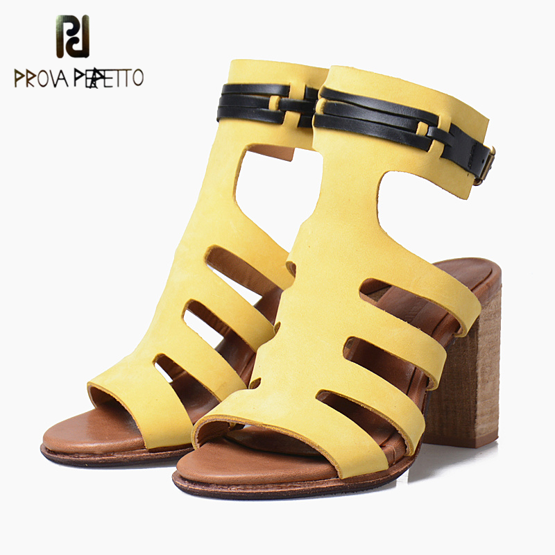 Prova Perfetto Fashion Real Leather Women Sandal Super High Heel Peep Toe Shoe Woman Rome Style Buckle Strap Narrow Band Sandal prova perfetto full leather narrow band knitting women sandals hollow out peep toe chunky high heel rome style summer shoes