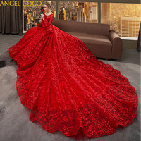Maternity Dresses Retro Trumpet Sleeves Red Long Royal Court Pregnancy Wedding Dress Spring Pregnant Clothes Bride Wedding Gown