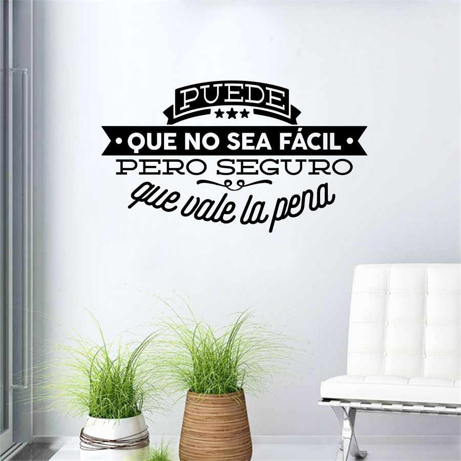 цена на Decorative Viny Wall Stickers Spanish Famous Quote Inspiring Phrase Wall Decals Sticker Home Decor for Living Room Decoration