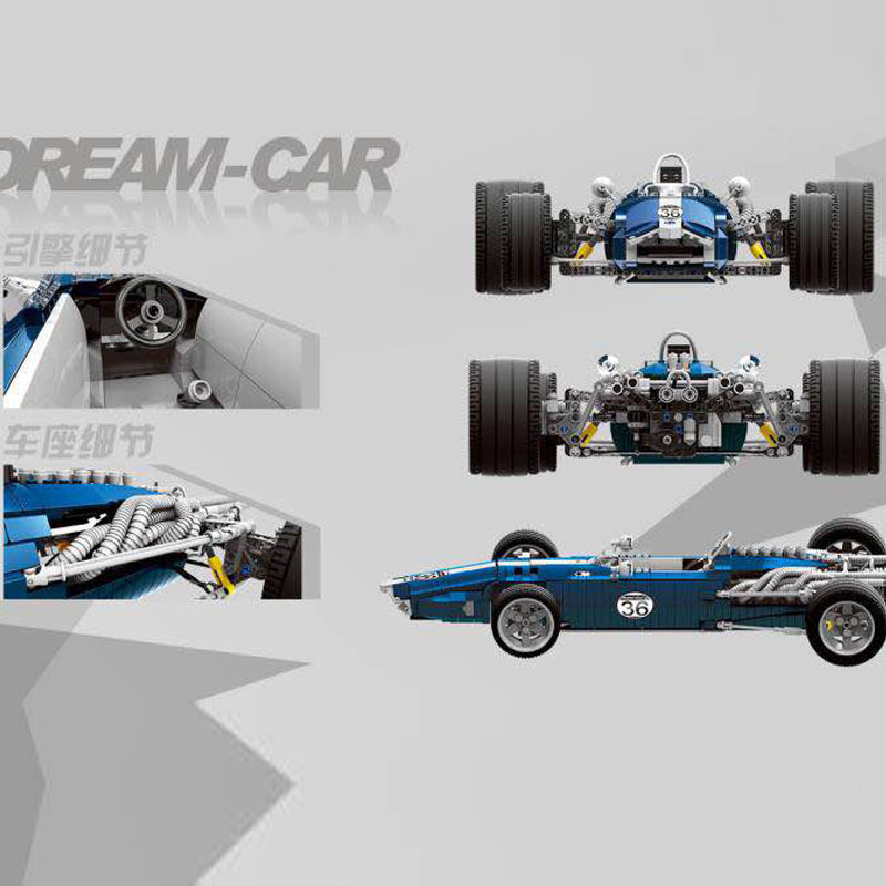 DHL 1758PCS the Blue F1 Racing Car Set Building Blocks Bricks Educational Funny Toys Compatible Legoings Technic Kids Gift