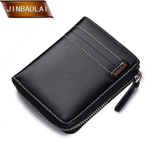 JINBAOLA Men's Small Wallet PU Leather Slim Purse Zipper Design Male Short Card Holder Brand Wallets Coin Pocket Purses Carteira цена в Москве и Питере
