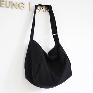 Image 5 - 女性のキャンバスのショルダーバッグ綿の布クロスボディバッグ固体ジッパーハンドバッグショッピングバッグトートバッグ学生エコシンプルなブックバッグ