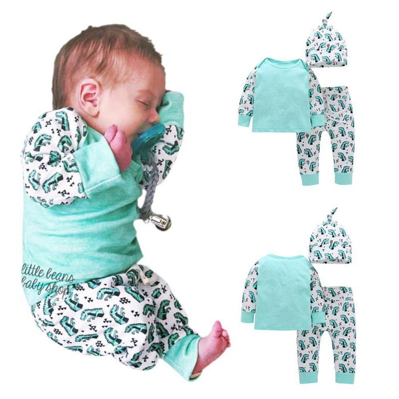 Spring Autumn Newborn Baby Clothes Sets 3PCS Kids Boys Girls Clothing Sweatshirt+Bottoms Pants+Hat Clothes Set