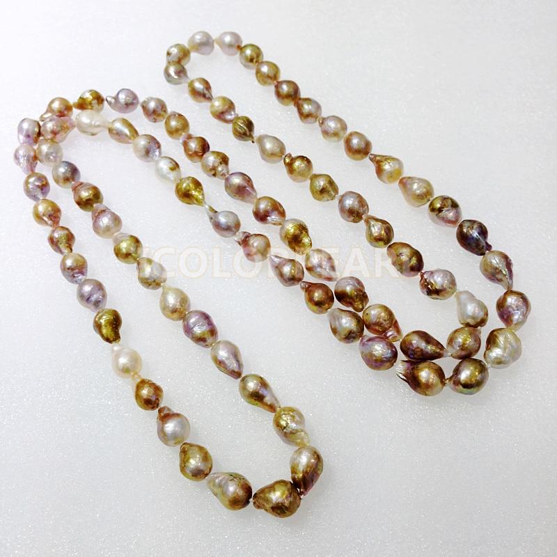 WEICOLOR Popular 125 cm de largo 10-12mm de gota de agua/Irregular Natural perla de agua dulce joyería collar.