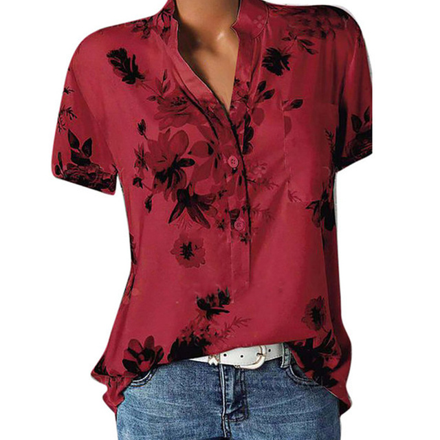 Elegant women's shirt printing large size casual shirt fashion V-neck short-sleeved shirt blouse 2