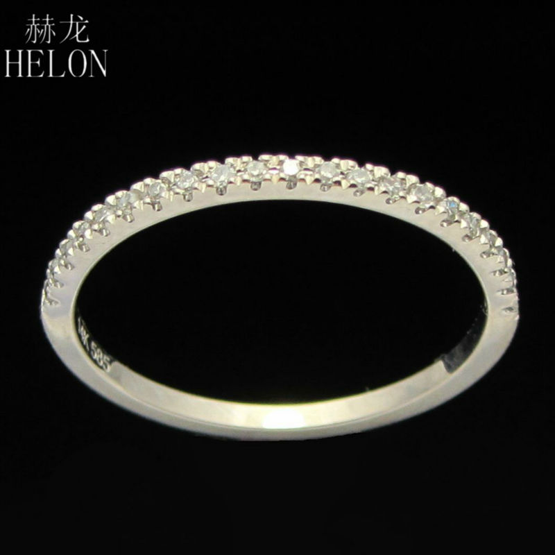 HELON Stackable Pave Brilliant 0.1ct Diamonds Solid 14K White Gold Fine Jewelry Ring Wedding & Anniversary Real Diamonds Band