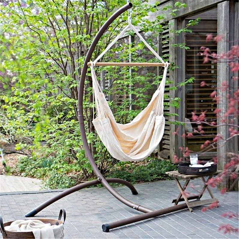 การท่องเที่ยวแบบพกพา Camping แขวนเปลญวนบ้านห้องนอนเตียงเก้าอี้โพลีเอสเตอร์ 120 kg ความจุแบริ่ง Hammock