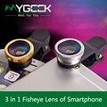 3 en 1 Lente de ojo de Pez Gran Angular autofoto teléfono móvil lentes de ojo de pez para iphone 5 6 plus ipad smartphone lente de la cámara
