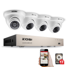 ZOSI 4CH FULL 1080P Video Security Camera System, 4 White Weatherproof 1920TVL 2.0MP Cameras,4 Channel 1080P HD-TVI DVR with 1TB
