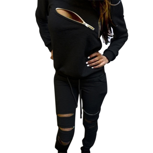 Women Sexy Irregular Zippers Long-sleeved  Sweatershirt Tops Pants Fashion Casual Sweater Suit  Plus Velvet