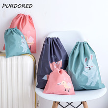 PURDORED 1 Pc Cartoon Drawstring Bag PEVA Portable Waterproof Underwear Closet Clothing Bags Travel Storage Organizer Bag