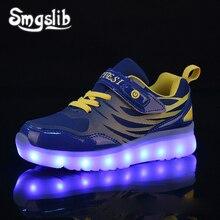 Kids Led Sneaker Boys Shoes Usb Charging 2019 Spring Autumn Children Shoes With Light Up Luminous Girls Glowing School Shoes цена в Москве и Питере