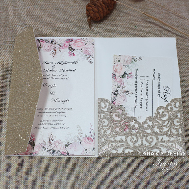 Glitter Champagne Pocket Trifold Wedding Invitations With Rsvp