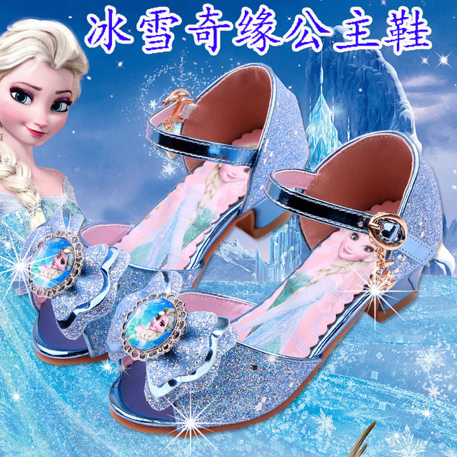 Disney 2019 New Summer Girls High Heel Sandals Frozen Crystal Shoes  Children Princess Fish mouth shoes 35900ddfd918