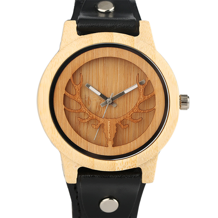 Steampunk Men Wooden Watch Skeleton Elk Head Carving Dial Black Punk Bracelet Creative Teenagers Wood Wristwatch Cool Gift Clock (4)