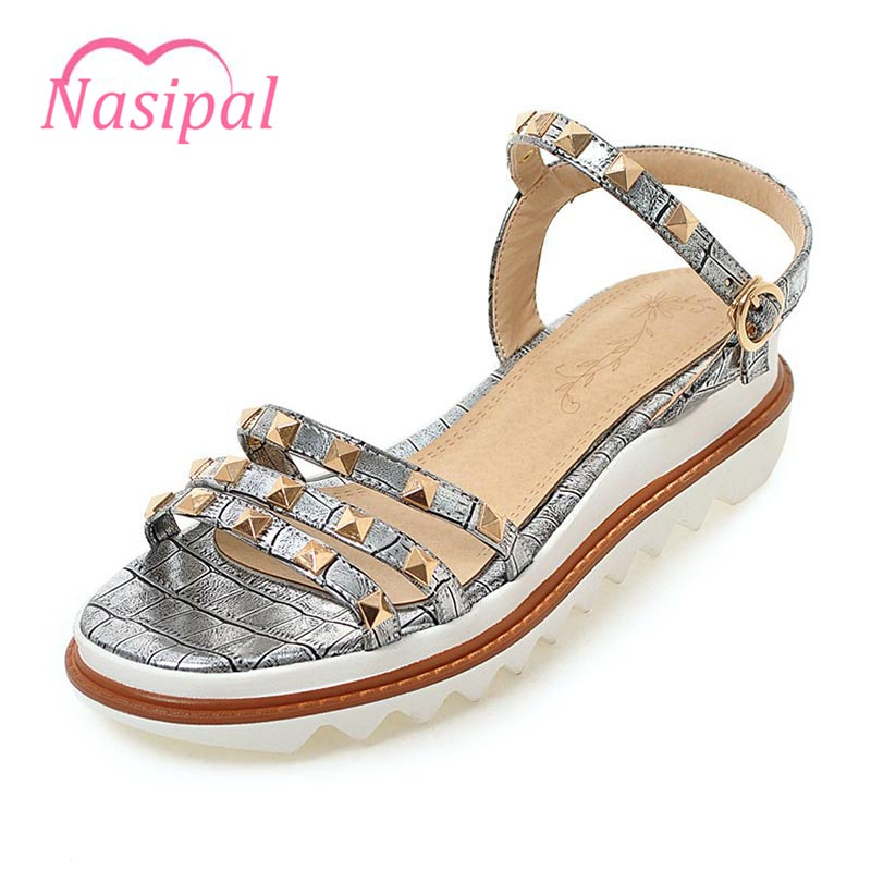 Nasipal 2017 Summer Beach Gladiator Sandals 2017 Flip Flops Silver Platform Shoes Woman Slip On Flats Casual Women Shoes G887 lanshulan wedges gladiator sandals 2017 summer peep toe platform slippers casual glitters shoes woman slip on flats creepers