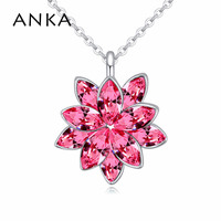 2015 New Sale White Gold Plated Sunflower Pendant Necklace Made From Swarovski Crystal 115657