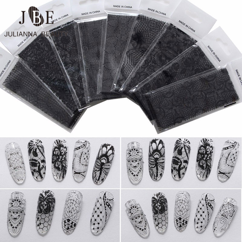 437c560c0736 US $2.17 25% OFF|Aliexpress.com : Buy 9 Sheets Sexy Black Lace Nail  Stickers Beauty Flower Full Wraps Nail Art Decals Manicure Decoration  Beauty Tools ...
