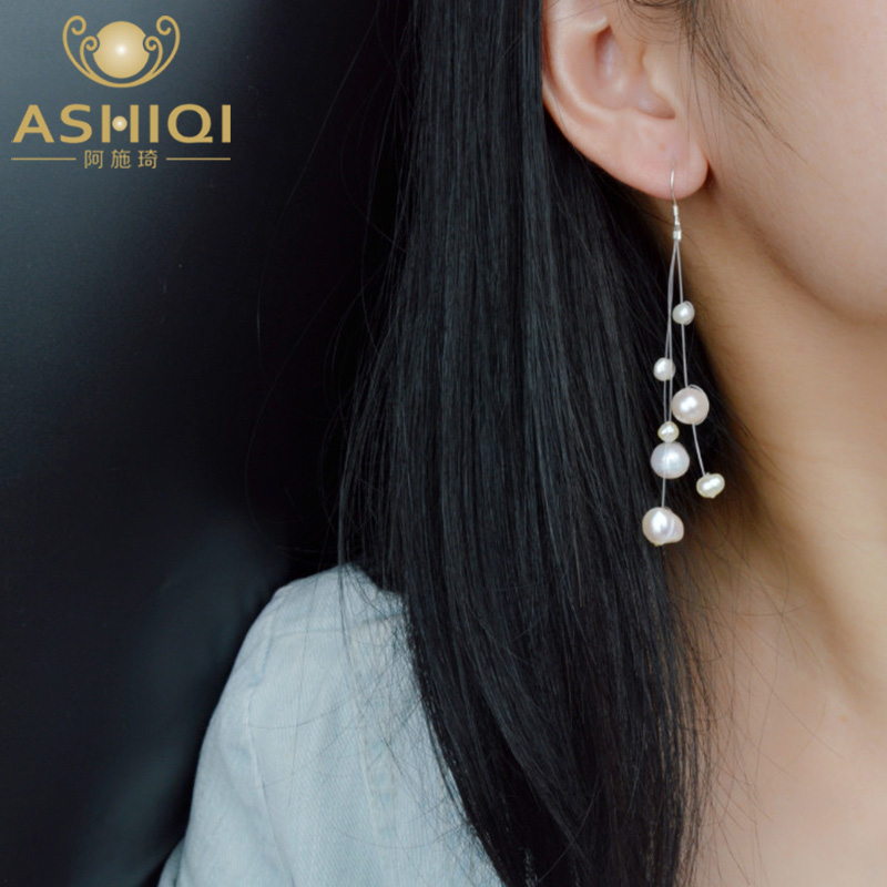 ASHIQI Authentic Natural Baroque Freshwater Pearl Earring  925 Sterling Silver Tassels Drop Earrings For Women Gift