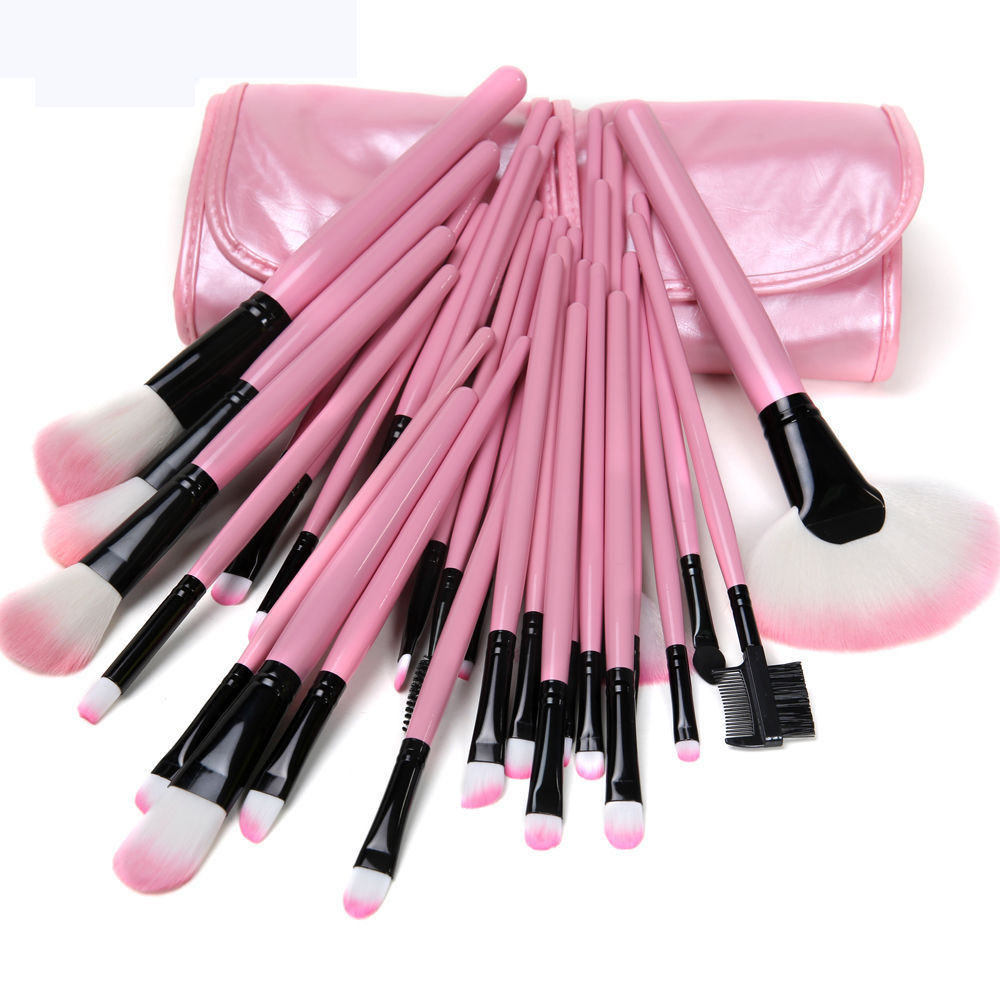 32 PCS/set Hot sale Wool Makeup Brushes Tools Set with PU Leather Case Cosmetic Facial Make up Brush Kit professional 32 pcs cosmetic facial make up brush kit wool makeup brushes tools set with black leather case yo v2