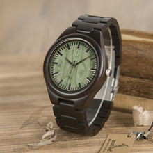 BOBO BIRD WH03 Mens Ebony Wooden Watch Green Wood Dial Vintage Watch for Mens With Wood Box OEM