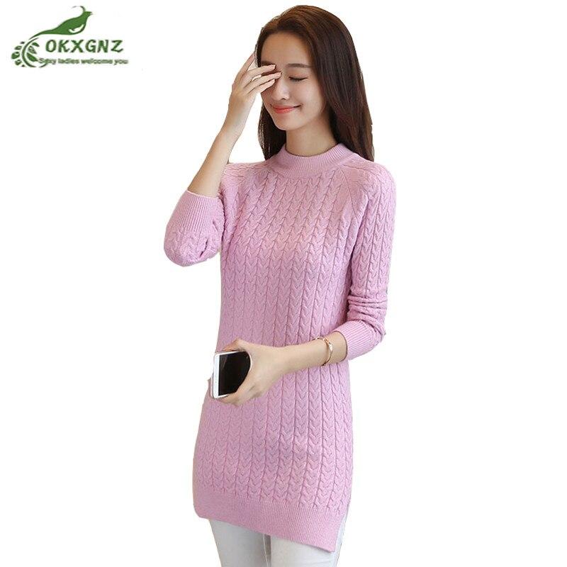 dffa8b579 Nova camisola mulheres Magras mid comprimento tamanho grande jacquard  assentamento camisa em torno do pescoço pullover quente camisola de malha  casaco ...