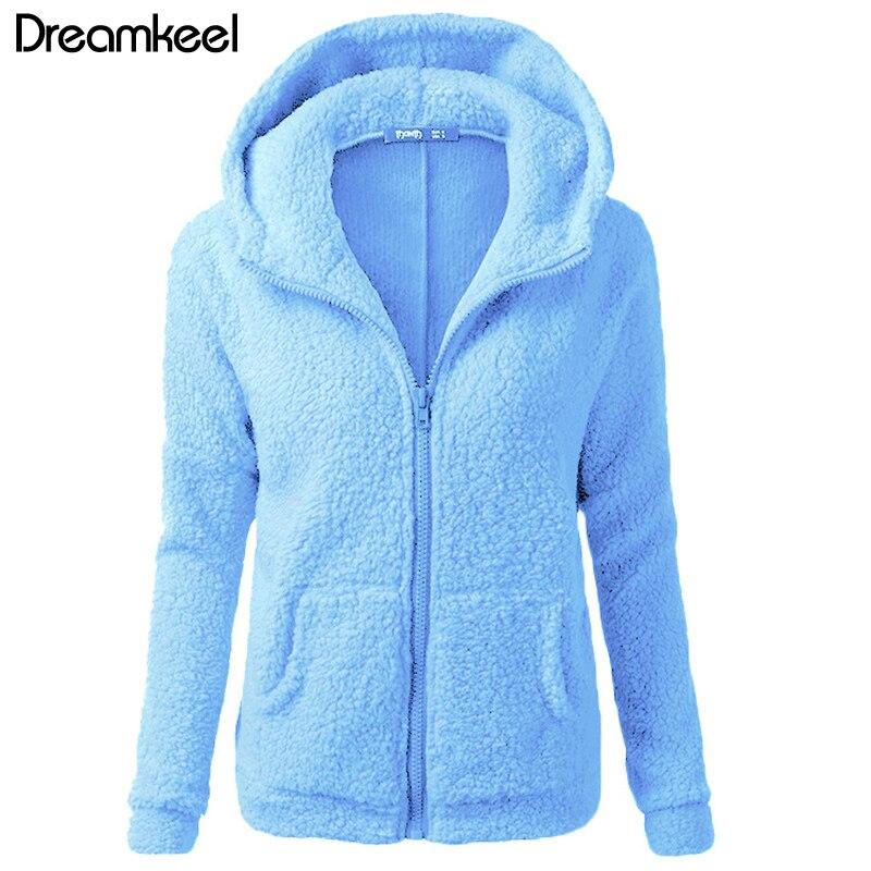 Solid Color Coat Women Thicken Soft Fleece Fashion Casual Outwear Coat Winter Autumn Warm Jacket Hooded Zipper Overcoat Female Y