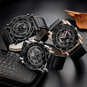 Image 4 - Oulm w nowym stylu zegarki mężczyźni zwykły kalendarz zegar kwarcowy mężczyzna unikalna konstrukcja luksusowe męskie skórzane zegarki relogio masculino