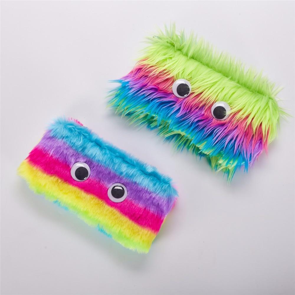 Rainbow Pencil Case Quality Plush School Supplies Stationery Gift Pencilcase School Cute Pencil Box School Tools Gifts