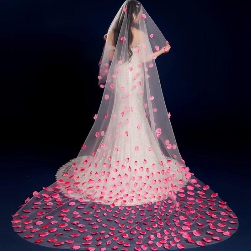 2018 New 3 Meters One Layer Lace  Pink Petal Bridal Veil With Comb Wedding Accessories Bride Mantilla Wedding Veil