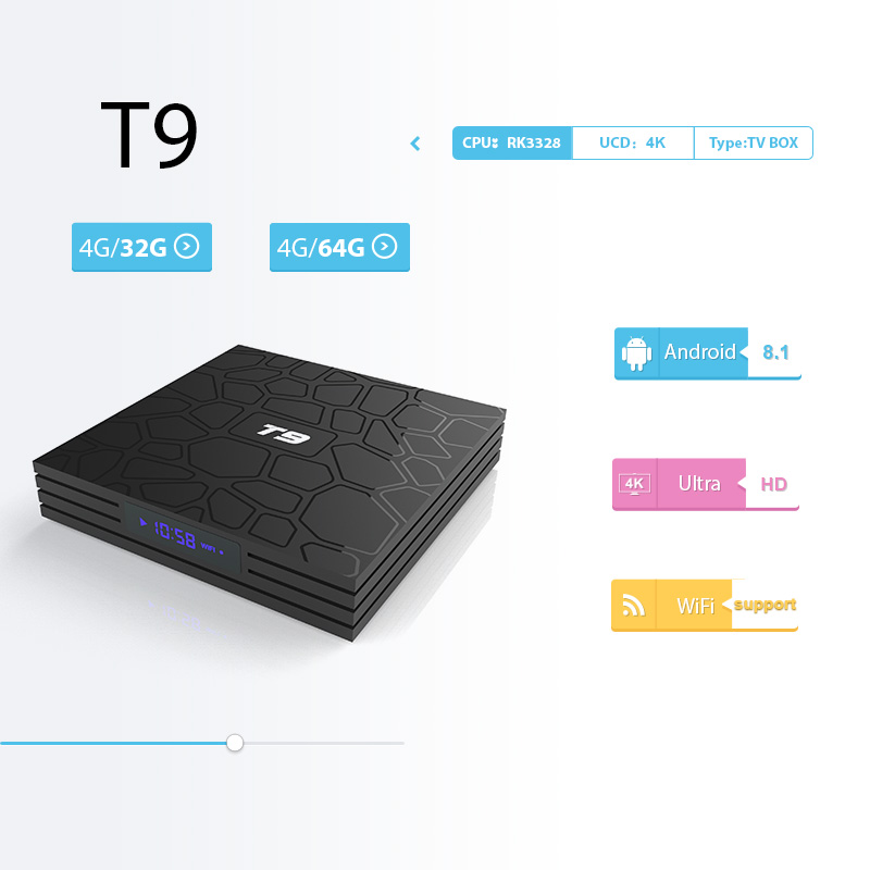 T9 caja de TV inteligente Android 8,1 4 GB de RAM 32 GB/64 GB Rockchip RK3328 1080 p 4 K google player Netflix, Youtube TV caja de paquete de Mi Set Top BOX