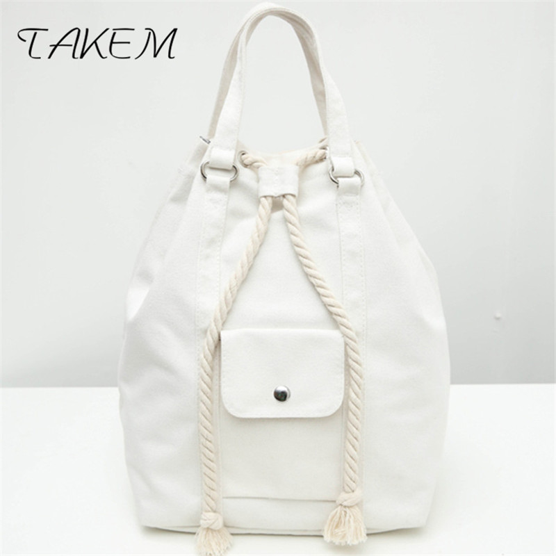 TAKEM 2018 Top Quality canvas Women Backpack Casual College Bookbag Female  Stylish Daily Backpacks Bag Simple style canvasartisan top quality canvas women backpack casual college bookbag female retro stylish daily travel laptop backpacks bag