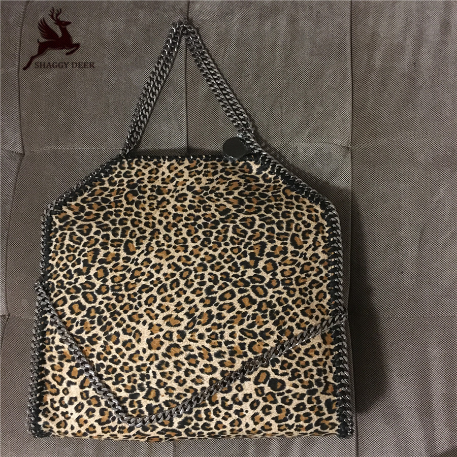 NEW 37cm Leopard Luxury Model Fashion Quality Shaggy Deer Fold-Over 3 Chain Tote 18ss Winter Lady Newest Bag Christmas Gift mini gray shaggy deer pvc quilted chain bag with cover real picture