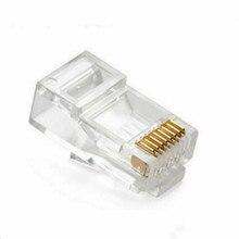 Cabo adaptador de conector de rede, 50 peças/100 peças de cristal rj45 modular plug Rj-45 adaptador de conector de cabo de rede para cat5 cat5e cat6 rj 45 plugues de cabo ethernet