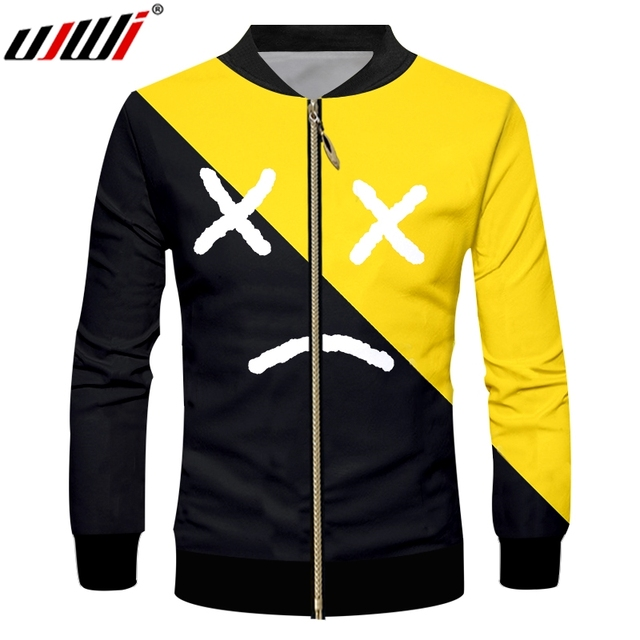 dc39e2e7a759 UJWI Man Large Size Casual Zip Jacket 3D Printed Black Yellow Expression  Creative Men s Zipper Coat Assorted Color Theme