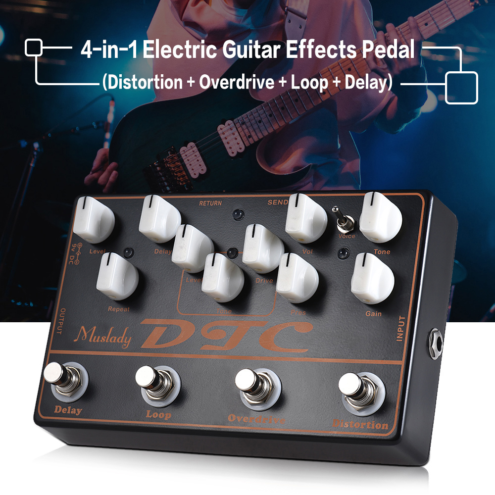 Muslady Dtc 4 In 1 Electric Guitar Effects Pedal Distortion 147 Pedals Simple Tone Control Brian May Treble Booster Overdrive Loop Delay Full Metal Shell With True Bypass Instrument Parts