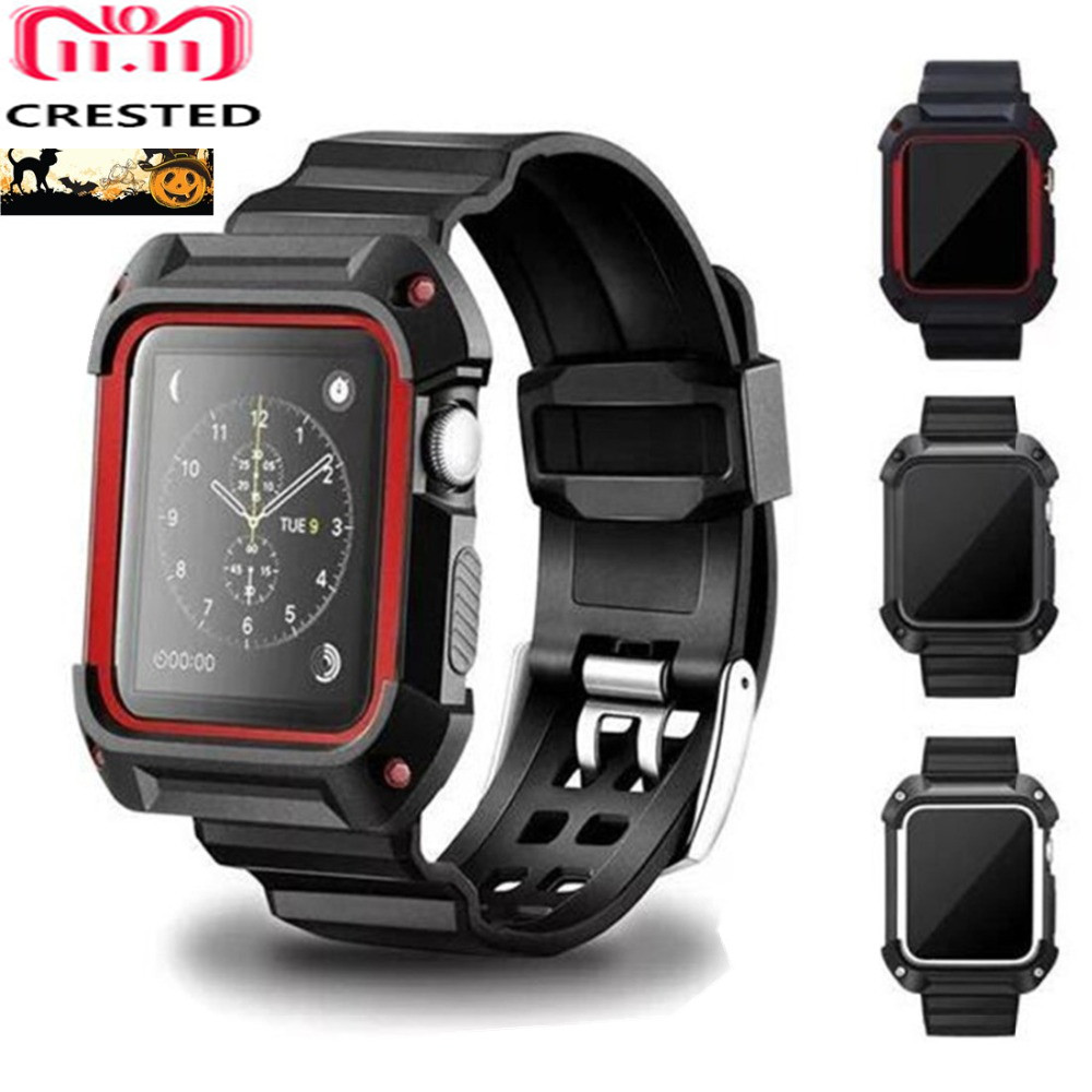 CRESTED Sport band for apple watch 3 42mm/38mm for iwatch 3/2/1 wrist band bracelet Rubber watchband with Protective case wrist watch style protective silicone case with band for ipod nano 6 black