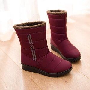 Image 4 - BEYARNEWaterproof נשים חורף מגפי FemaleShoes אמצע עגל HighDown גבירותיי מגפי שלג הנעל טריז גומי קטיפה מדרסים בוטה