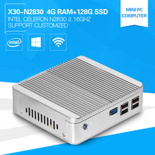 Cheapest XCY Fanless Office Computer Celeron N2830 Dual Core 2.16GHz 4G RAM 128G SSD Windows 10 Support Build-in-Buletooth