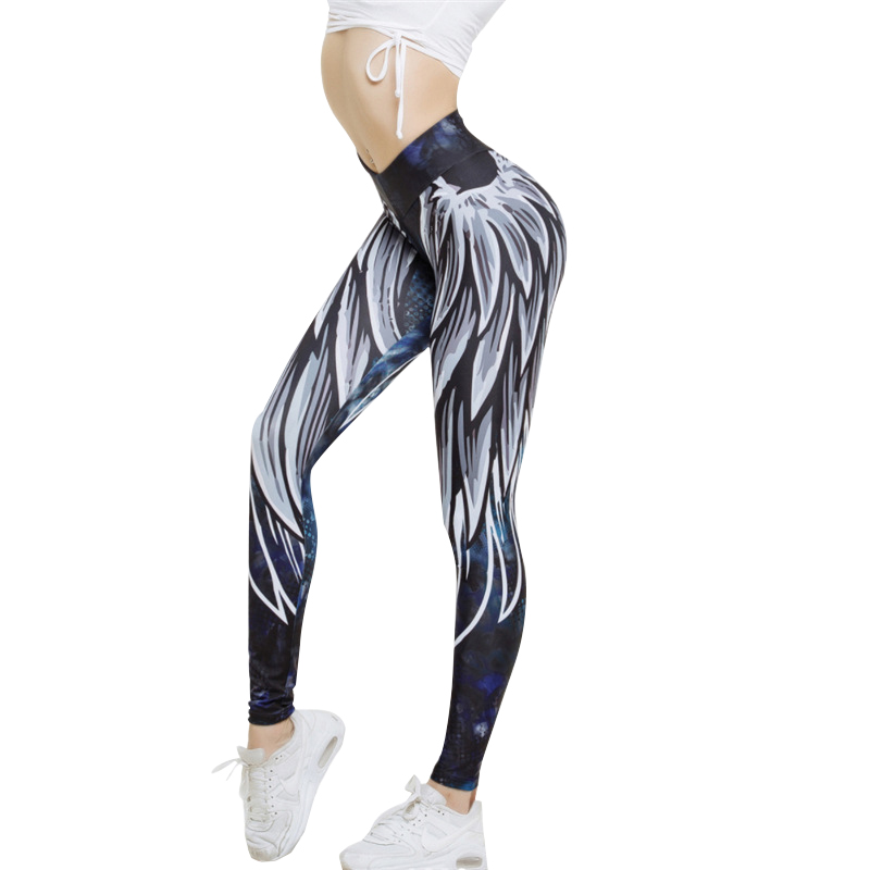 Sexy Push Up Long Pants For Women High Waist Angel Wings Print Workout Clothing 3 D Digital Printed Knitted Casual Wear Leggings